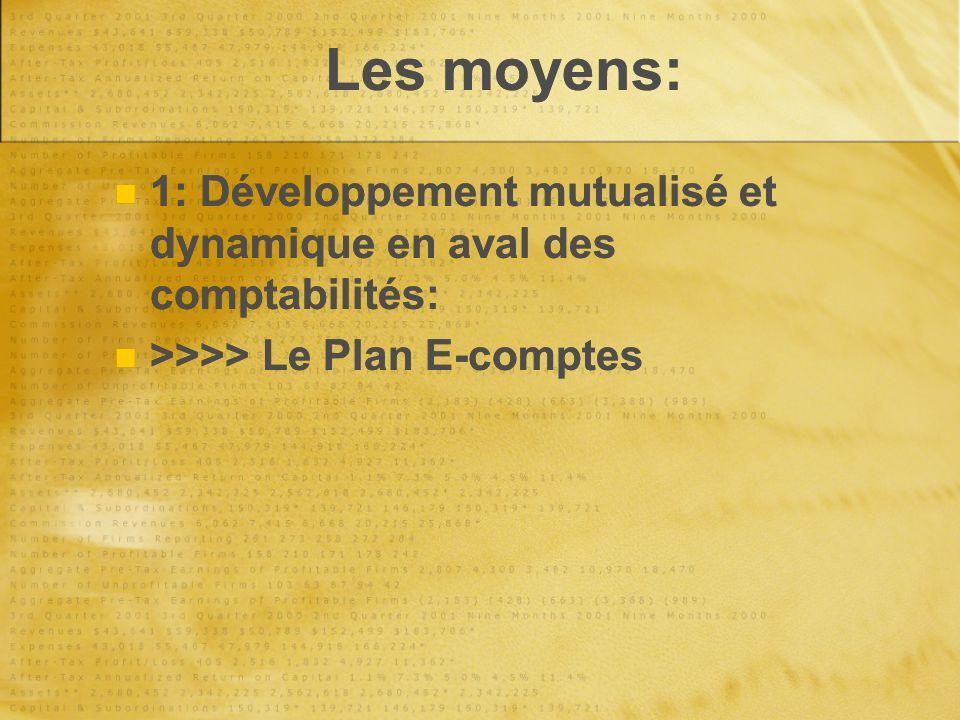 Les moyens: 1: Développement mutualisé et dynamique en aval des comptabilités: >>>> Le Plan E-comptes 1: Développement mutualisé et dynamique en aval des comptabilités: >>>> Le Plan E-comptes