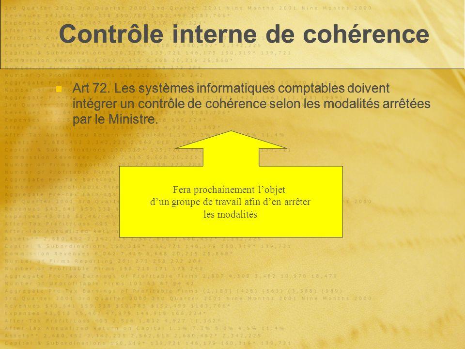 Contrôle interne de cohérence Art 72.