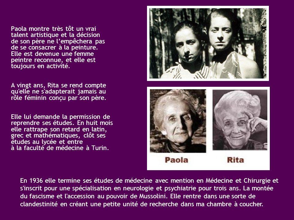 d'Adamo Levi d'Adèle Montalcini Née 22 avril 1909 à Turin en même temps que sa sœur jumelle Paola. Elles étaient les plus jeunes des quatre enfants d'