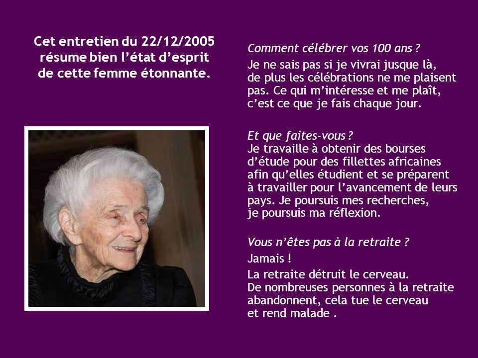 Depuis son enfance, Mme Levi-Montalcini défend la cause de la lutte contre la pauvreté et la malnutrition. Elle espère, en tant que personnage public,