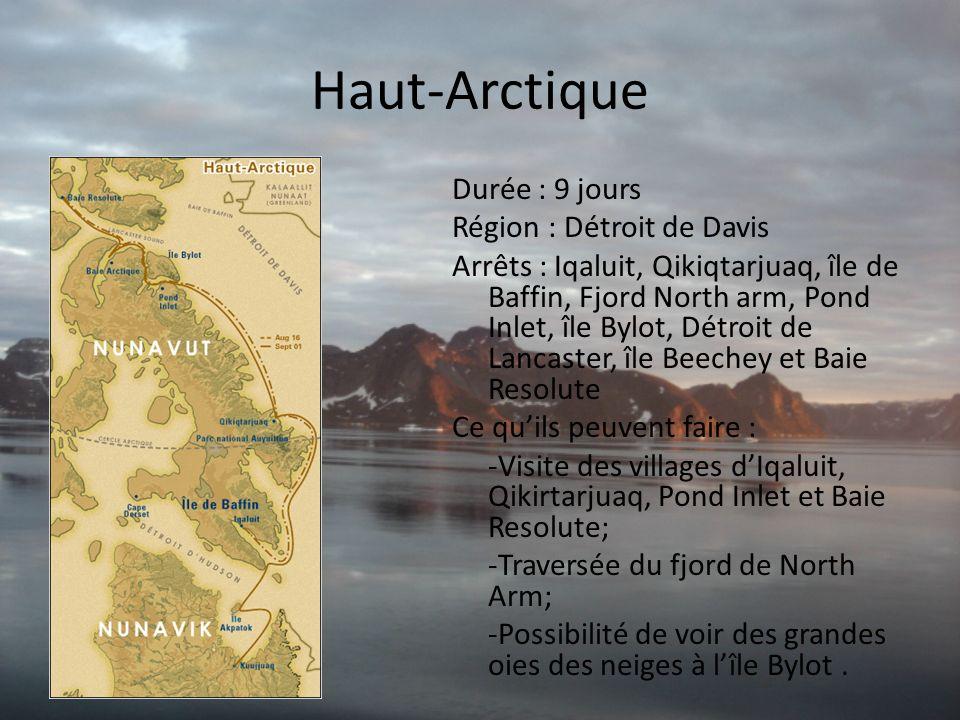 Haut-Arctique Durée : 9 jours Région : Détroit de Davis Arrêts : Iqaluit, Qikiqtarjuaq, île de Baffin, Fjord North arm, Pond Inlet, île Bylot, Détroit