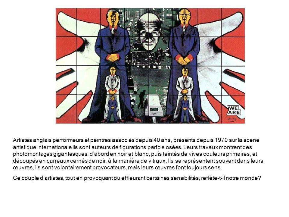Artistes anglais performeurs et peintres associés depuis 40 ans, présents depuis 1970 sur la scène artistique internationale ils sont auteurs de figur