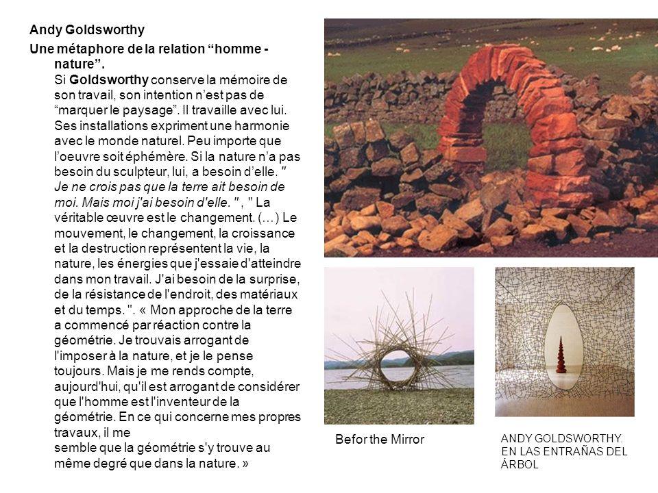 Andy Goldsworthy Une métaphore de la relation homme - nature. Si Goldsworthy conserve la mémoire de son travail, son intention nest pas de marquer le
