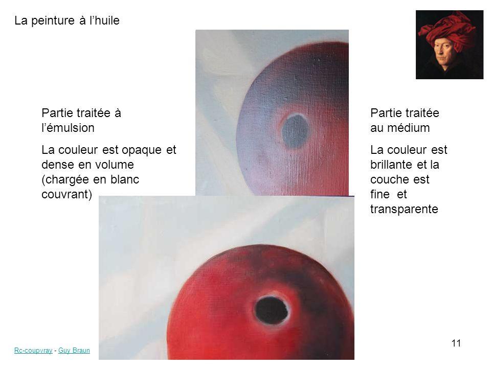 La peinture à lhuile Rc-coupvrayRc-coupvray - Guy BraunGuy Braun 11 Partie traitée au médium La couleur est brillante et la couche est fine et transpa