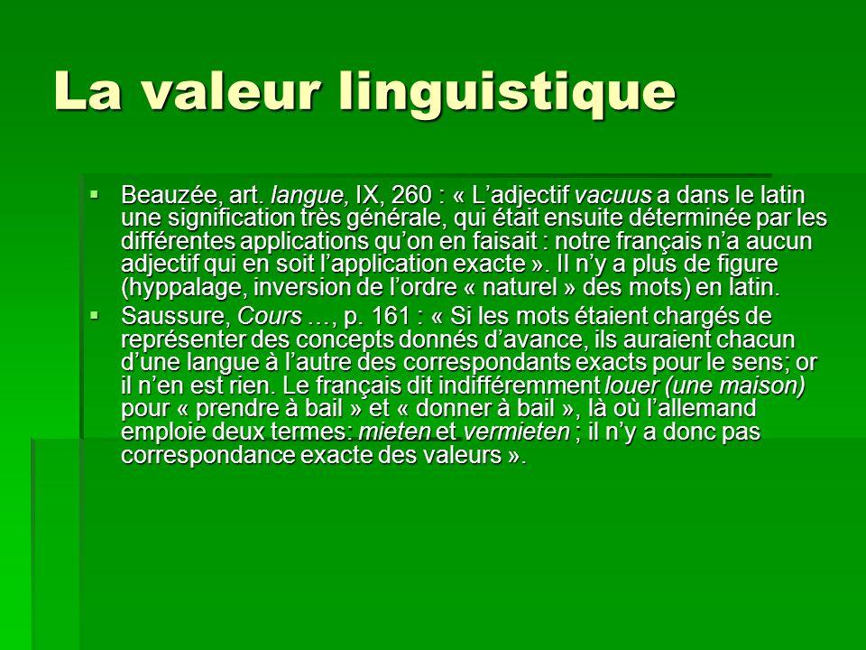 La valeur linguistique Beauzée, art.