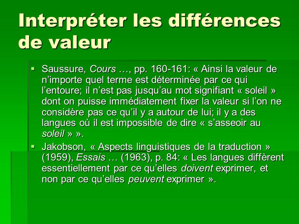 Interpréter les différences de valeur Saussure, Cours …, pp.