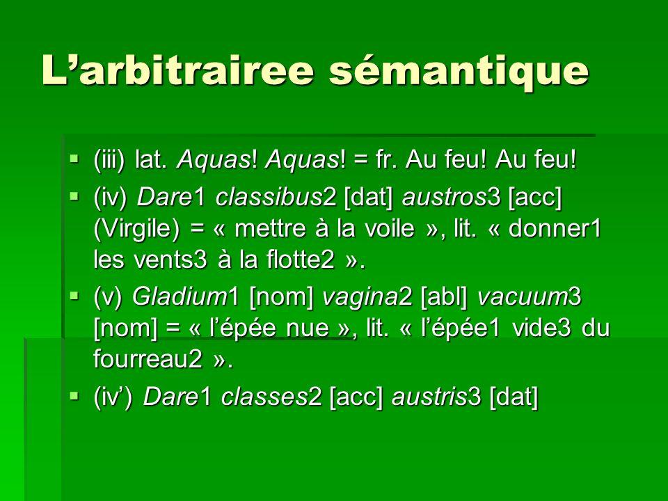 Larbitrairee sémantique (iii) lat.Aquas. Aquas. = fr.