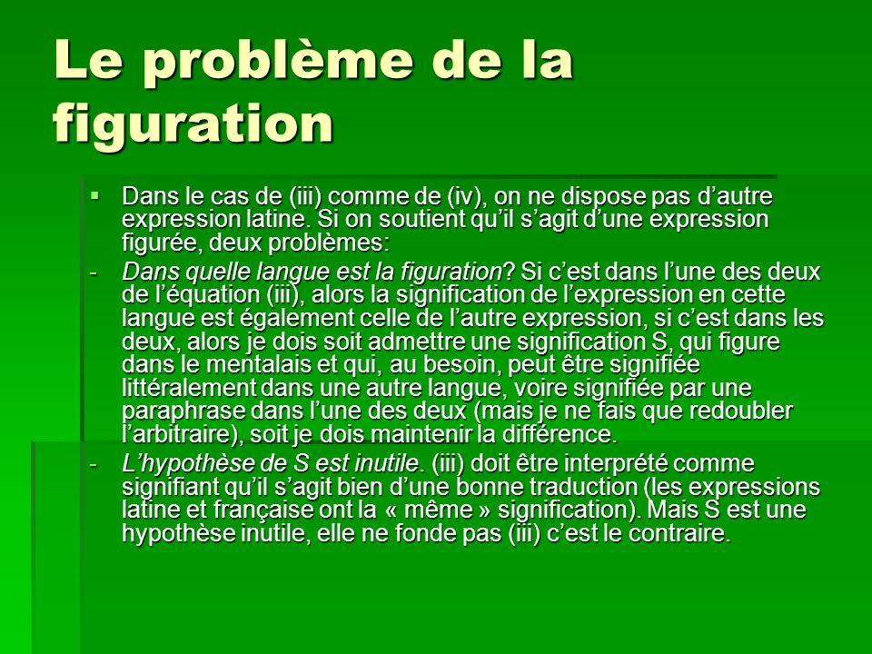 Le problème de la figuration Dans le cas de (iii) comme de (iv), on ne dispose pas dautre expression latine.