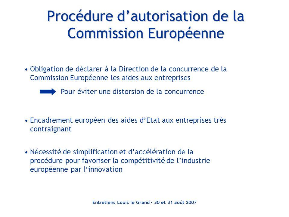 Entretiens Louis le Grand – 30 et 31 août 2007 Procédure dautorisation de la Commission Européenne Obligation de déclarer à la Direction de la concurr