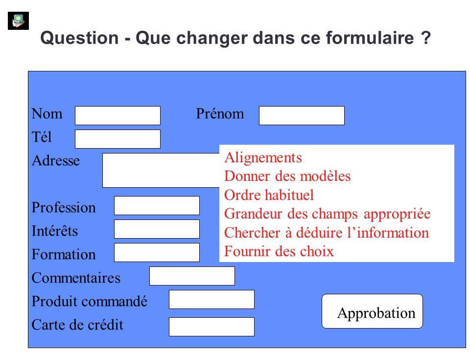 Question - Que changer dans ce formulaire .