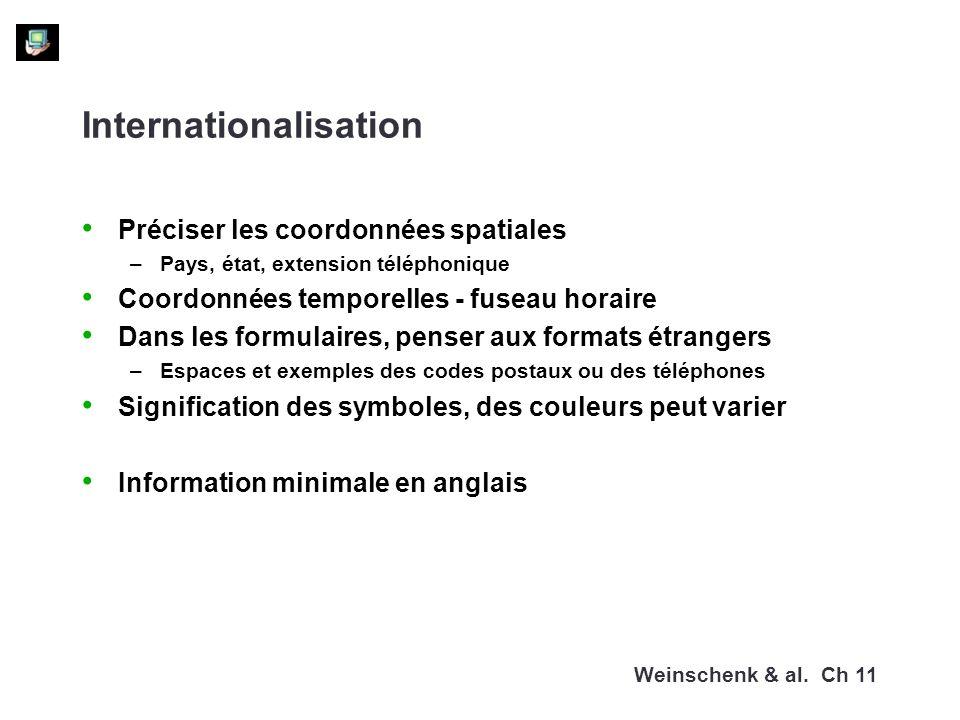 Internationalisation Préciser les coordonnées spatiales –Pays, état, extension téléphonique Coordonnées temporelles - fuseau horaire Dans les formulaires, penser aux formats étrangers –Espaces et exemples des codes postaux ou des téléphones Signification des symboles, des couleurs peut varier Information minimale en anglais Weinschenk & al.
