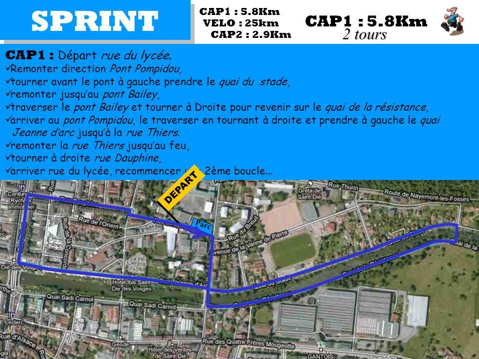 SPRINT CAP2 : 2.9Km CAP1 : Départ rue du lycée. Remonter direction Pont Pompidou, tourner avant le pont à gauche prendre le quai du stade, remonter ju