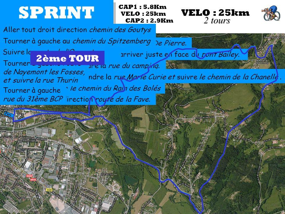SPRINT VELO : 25km Parc CAP1 : 5.8Km CAP2 : 2.9Km VELO : 25km 2 tours Sortie du parc coté rue du 31ème BCP Prendre la 1ère à gauche, avenue de la Vanne De Pierre.