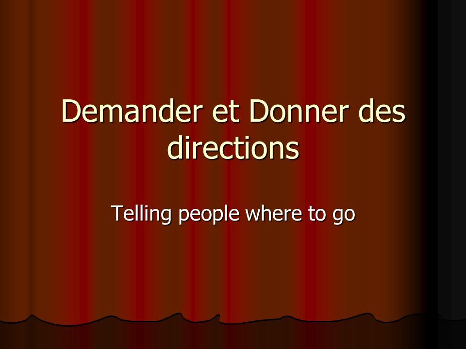 Demander et Donner des directions Telling people where to go