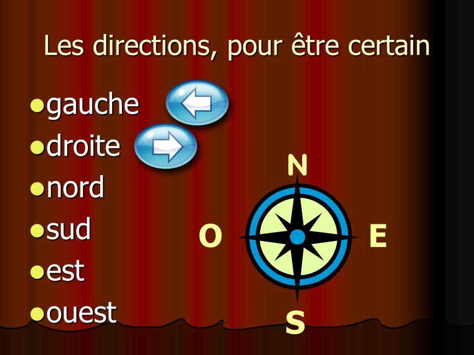 Les directions, pour être certain gauche gauche droite droite nord nord sud sud est est ouest ouest O S E