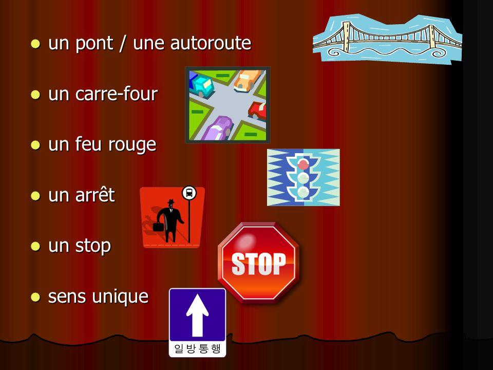 un pont / une autoroute un pont / une autoroute un carre-four un carre-four un feu rouge un feu rouge un arrêt un arrêt un stop un stop sens unique se
