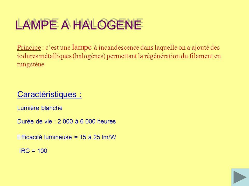 Différents types : - Tube à quartz : (de 100 à 500 W – 230 V) Pour éclairage indirect avec variateur de lumière - Lampe TBT (6 - 12 – 24 V) : avec transformateur extérieur pour éclairage ponctuel ampe halogène sous double enveloppe : (75, 100 et 150 W – 230 V) Remplace aisément la lampe à incandescence