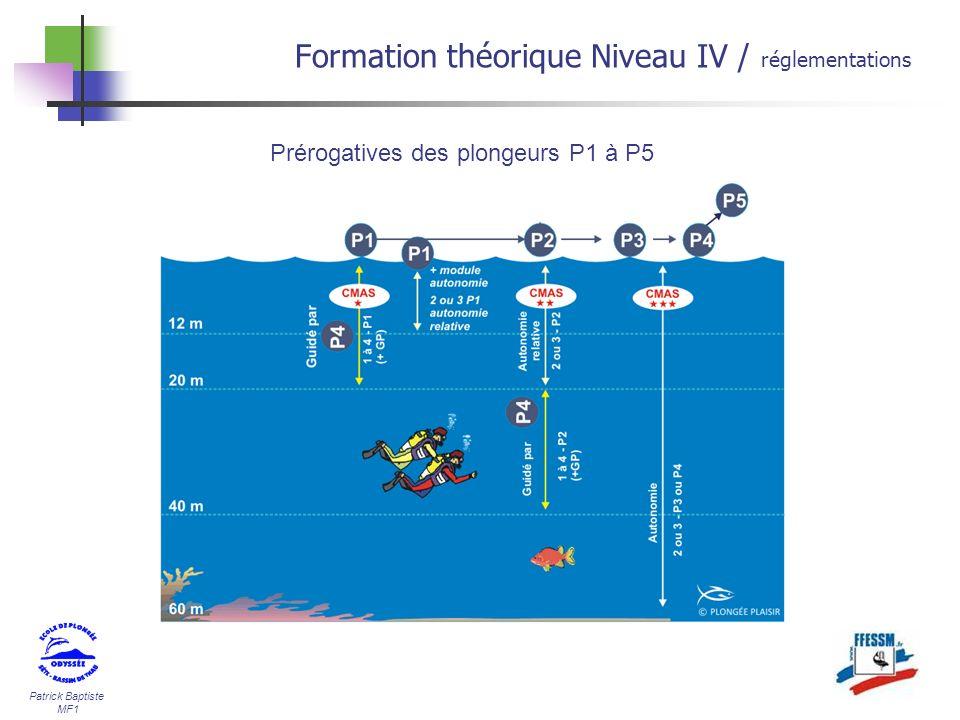 Patrick Baptiste MF1 Formation théorique Niveau IV / réglementations Prérogatives des plongeurs P1 à P5