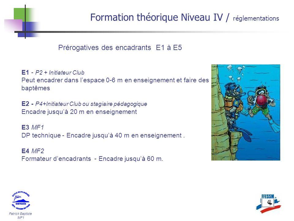 Patrick Baptiste MF1 Formation théorique Niveau IV / réglementations Prérogatives des encadrants E1 à E5 E1 - P2 + Initiateur Club Peut encadrer dans