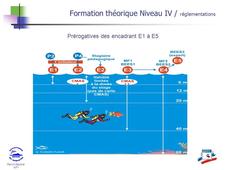 Patrick Baptiste MF1 Formation théorique Niveau IV / réglementations Prérogatives des encadrant E1 à E5