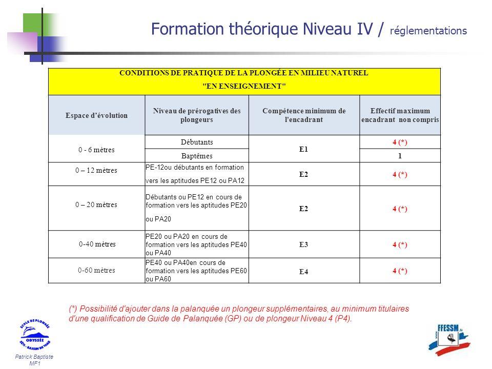 Patrick Baptiste MF1 Formation théorique Niveau IV / réglementations CONDITIONS DE PRATIQUE DE LA PLONGÉE EN MILIEU NATUREL