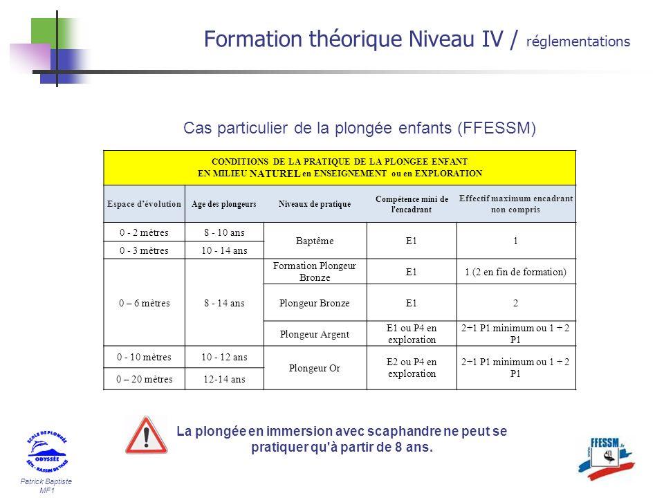 Patrick Baptiste MF1 Formation théorique Niveau IV / réglementations CONDITIONS DE LA PRATIQUE DE LA PLONGEE ENFANT EN MILIEU NATUREL en ENSEIGNEMENT