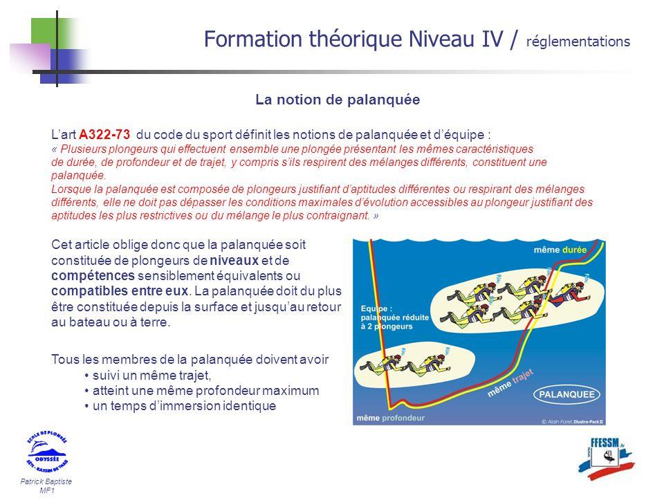 Patrick Baptiste MF1 Lart A322-73 du code du sport définit les notions de palanquée et déquipe : « Plusieurs plongeurs qui effectuent ensemble une plo