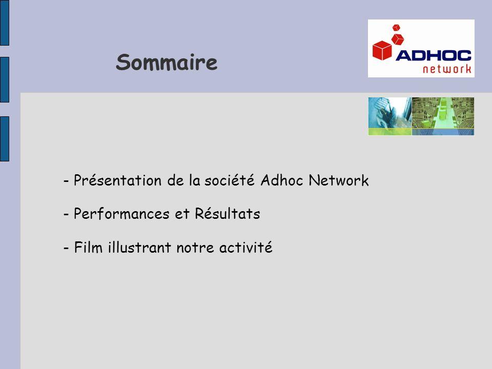 Sommaire - Présentation de la société Adhoc Network - Performances et Résultats - Film illustrant notre activité