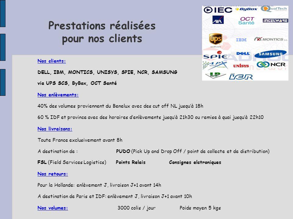 Prestations réalisées pour nos clients Nos clients: DELL, IBM, MONTICS, UNISYS, SPIE, NCR, SAMSUNG via UPS SCS, ByBox, OCT Santé Nos enlèvements: 40% des volumes proviennent du Benelux avec des cut off NL jusquà 18h 60 % IDF et province avec des horaires denlèvements jusquà 21h30 ou remise à quai jusquà 22h10 Nos livraisons: Toute France exclusivement avant 8h A destination de : PUDO (Pick Up and Drop Off / point de collecte et de distribution) FSL (Field Services Logistics) Points Relais Consignes elctroniques Nos retours: Pour la Hollande: enlèvement J, livraison J+1 avant 14h A destination de Paris et IDF: enlèvement J, livraison J+1 avant 10h Nos volumes: 3000 colis / jour Poids moyen 5 kgs