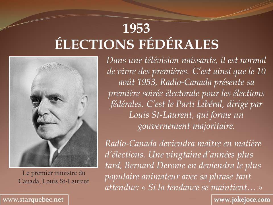 1953 ÉLECTIONS FÉDÉRALES Le premier ministre du Canada, Louis St-Laurent Dans une télévision naissante, il est normal de vivre des premières.