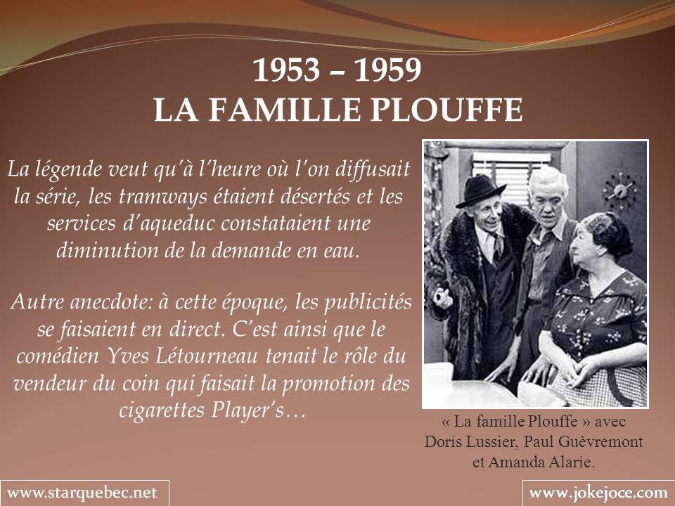 1953 – 1959 LA FAMILLE PLOUFFE La légende veut quà lheure où lon diffusait la série, les tramways étaient désertés et les services daqueduc constataient une diminution de la demande en eau.