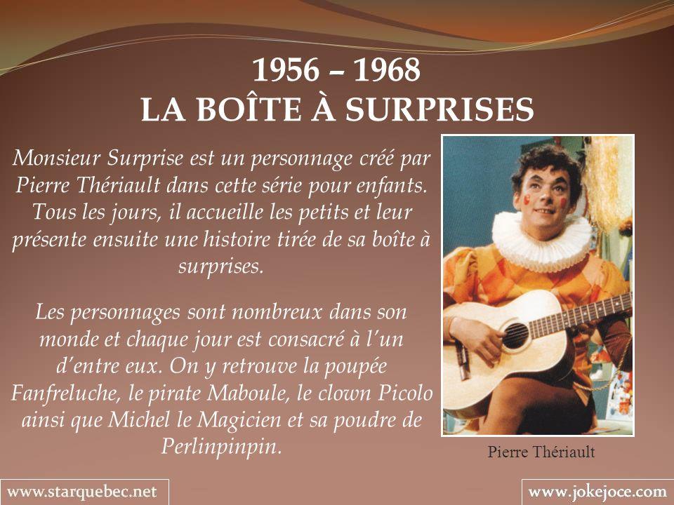 1956 – 1968 LA BOÎTE À SURPRISES Monsieur Surprise est un personnage créé par Pierre Thériault dans cette série pour enfants.