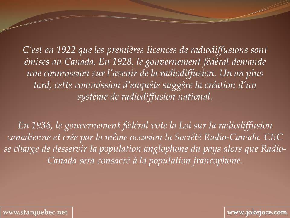 Cest en 1922 que les premières licences de radiodiffusions sont émises au Canada.