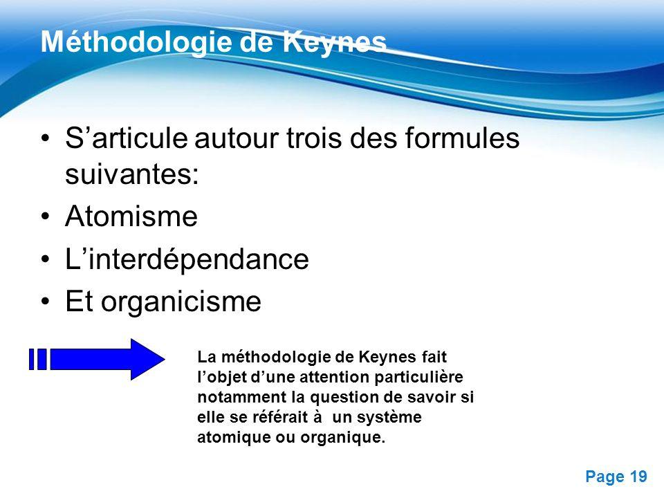 Free Powerpoint Templates Page 19 Méthodologie de Keynes Sarticule autour trois des formules suivantes: Atomisme Linterdépendance Et organicisme La mé
