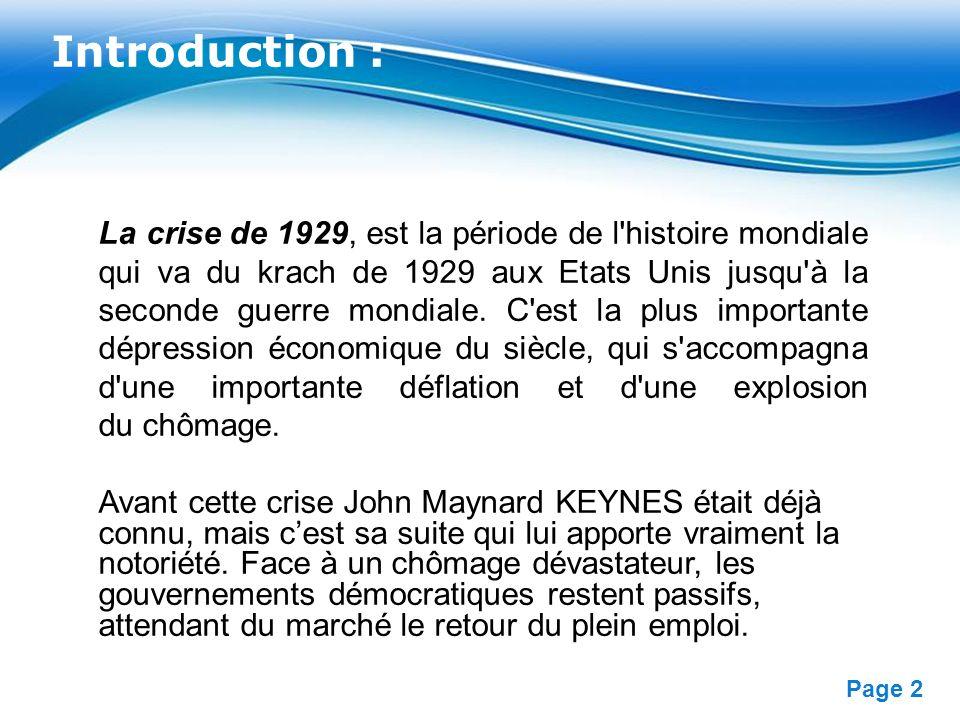 Free Powerpoint Templates Page 2 Introduction : La crise de 1929, est la période de l'histoire mondiale qui va du krach de 1929 aux Etats Unis jusqu'à