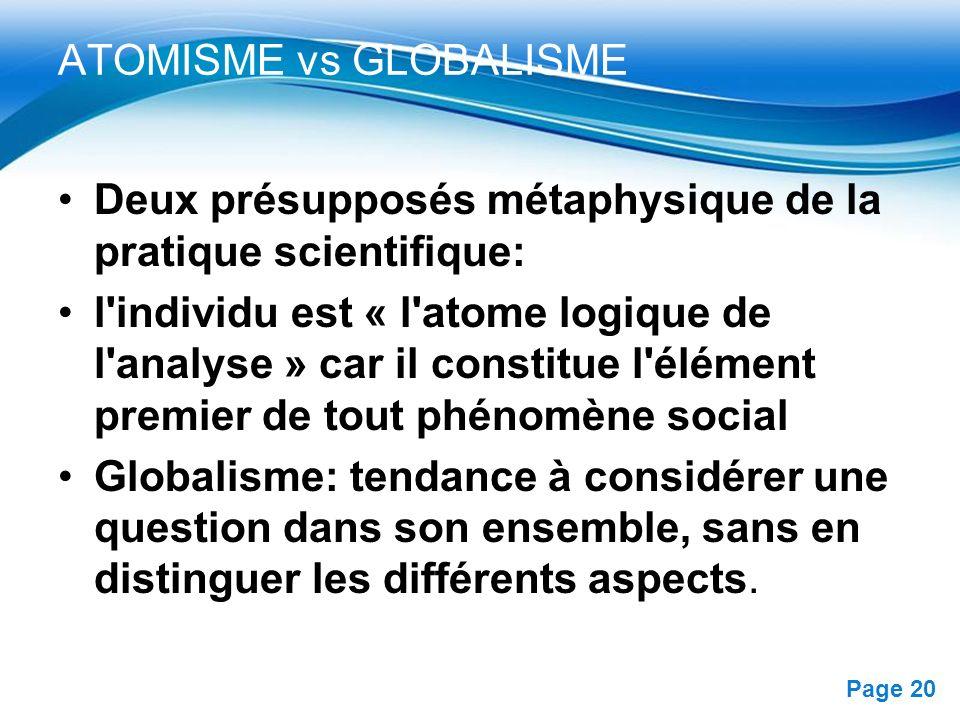 Free Powerpoint Templates Page 20 ATOMISME vs GLOBALISME Deux présupposés métaphysique de la pratique scientifique: l'individu est « l'atome logique d