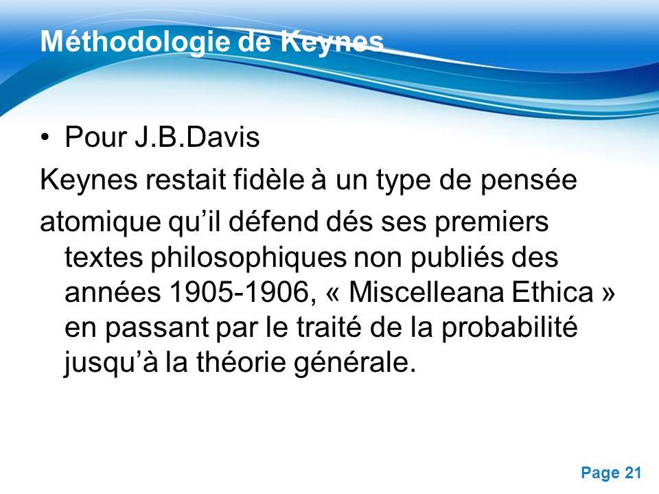 Free Powerpoint Templates Page 21 Méthodologie de Keynes Pour J.B.Davis Keynes restait fidèle à un type de pensée atomique quil défend dés ses premier