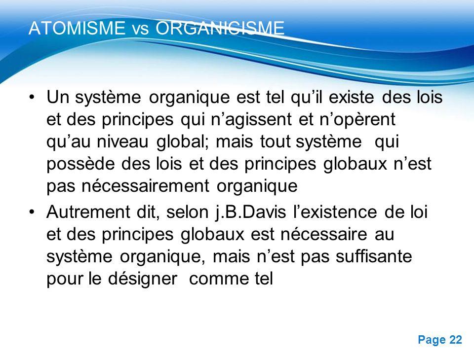 Free Powerpoint Templates Page 22 ATOMISME vs ORGANICISME Un système organique est tel quil existe des lois et des principes qui nagissent et nopèrent
