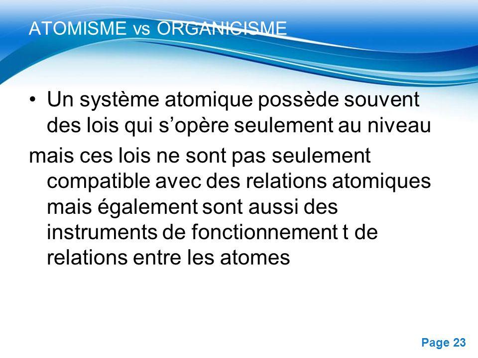 Free Powerpoint Templates Page 23 ATOMISME vs ORGANICISME Un système atomique possède souvent des lois qui sopère seulement au niveau mais ces lois ne