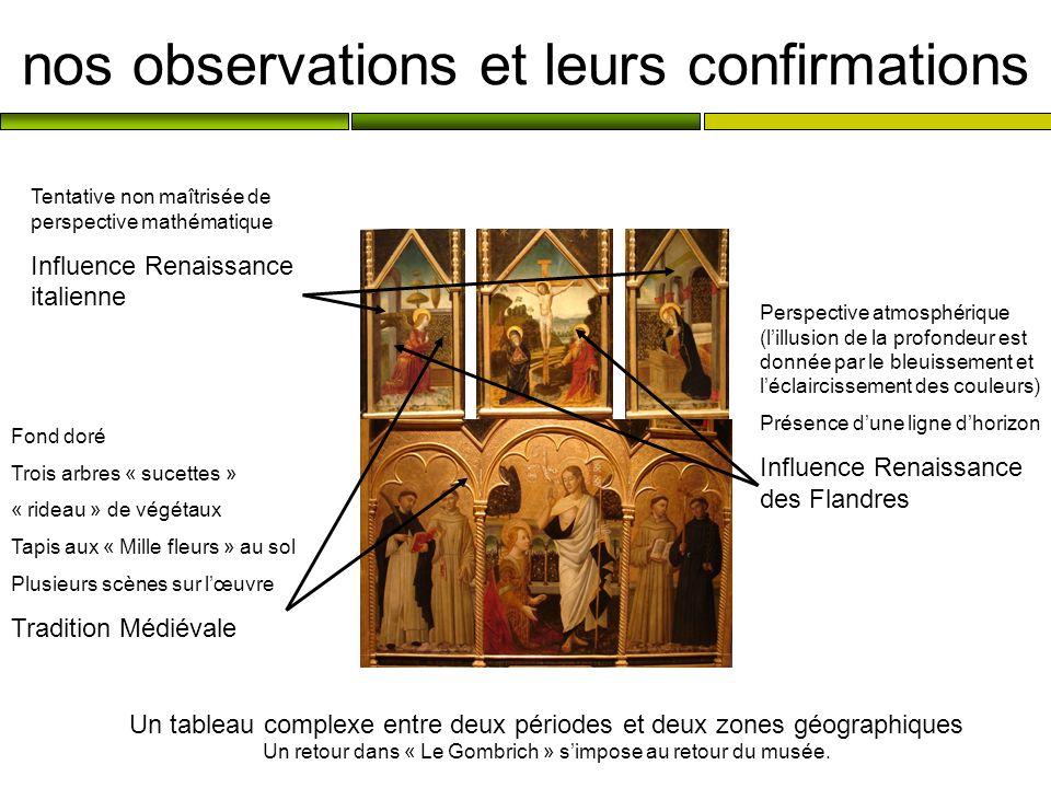 nos observations et leurs confirmations Un tableau complexe entre deux périodes et deux zones géographiques Un retour dans « Le Gombrich » simpose au