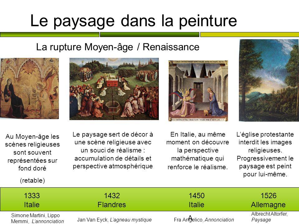 Le paysage dans la peinture La rupture Moyen-âge / Renaissance 1333 Italie 1432 Flandres 1450 Italie 1526 Allemagne Au Moyen-âge les scènes religieuse