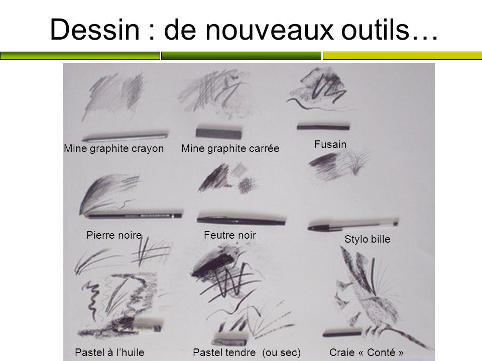 Dessin : de nouveaux outils… Mine graphite crayonMine graphite carrée Fusain Pierre noireFeutre noir Stylo bille Pastel à lhuilePastel tendre (ou sec)