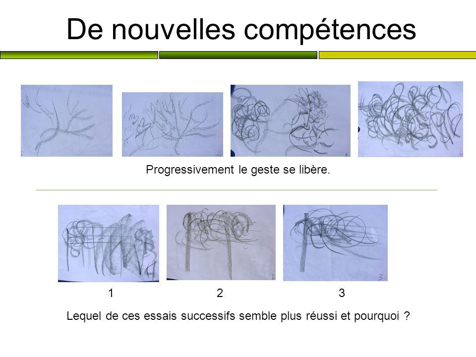 De nouvelles compétences Progressivement le geste se libère. 1 2 3 Lequel de ces essais successifs semble plus réussi et pourquoi ?