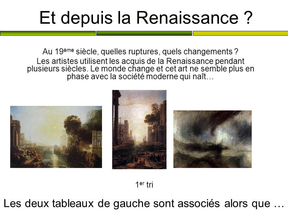 Et depuis la Renaissance ? Au 19 ème siècle, quelles ruptures, quels changements ? Les artistes utilisent les acquis de la Renaissance pendant plusieu