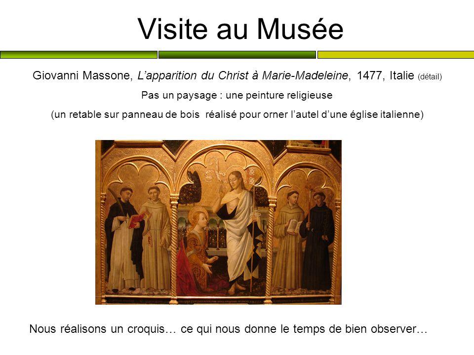 Visite au Musée Giovanni Massone, Lapparition du Christ à Marie-Madeleine, 1477, Italie (détail) Pas un paysage : une peinture religieuse (un retable