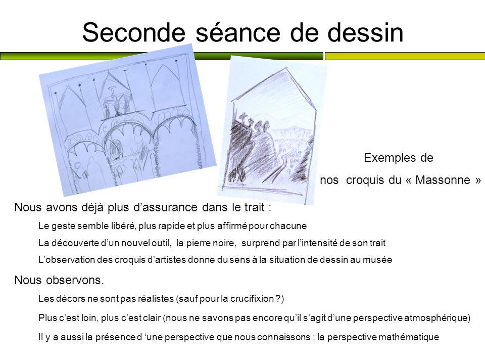 Seconde séance de dessin Nous avons déjà plus dassurance dans le trait : Le geste semble libéré, plus rapide et plus affirmé pour chacune La découvert