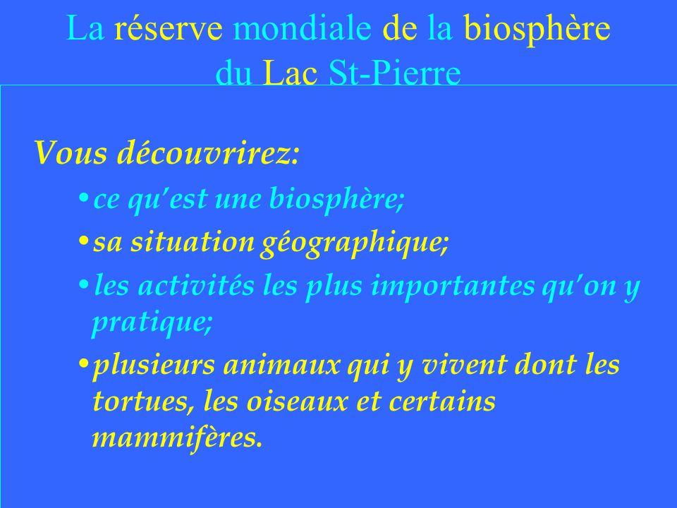 La réserve mondiale de la biosphère du Lac St-Pierre Vous découvrirez: ce quest une biosphère; sa situation géographique; les activités les plus importantes quon y pratique; plusieurs animaux qui y vivent dont les tortues, les oiseaux et certains mammifères.