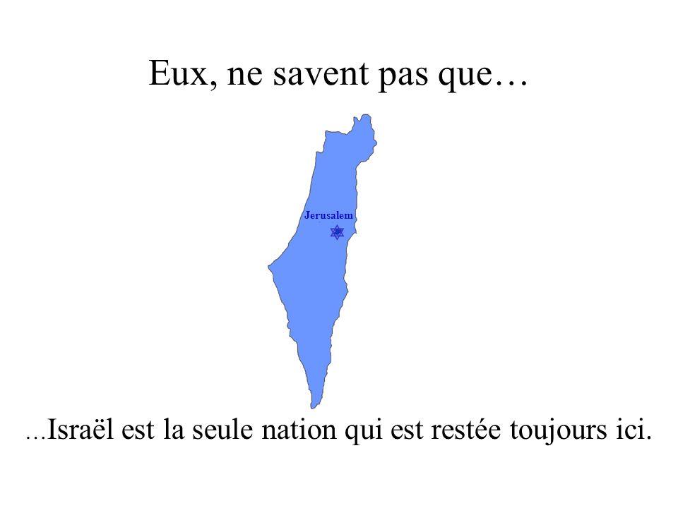 Jerusalem Eux, ne savent pas que… … Israël est la seule nation qui est restée toujours ici.