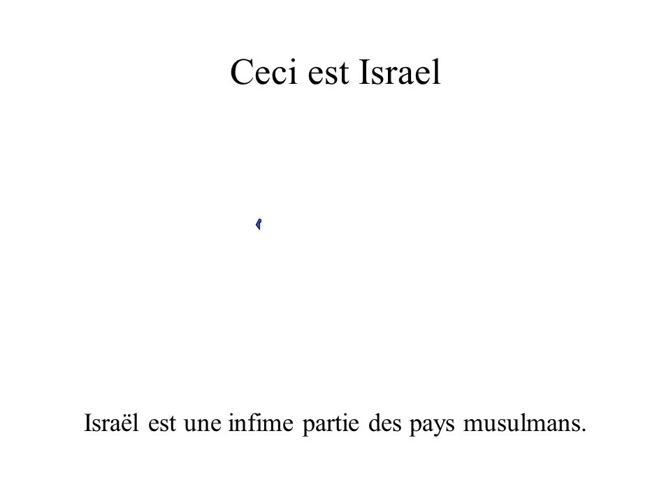 Ceci est Israel Israël est une infime partie des pays musulmans.