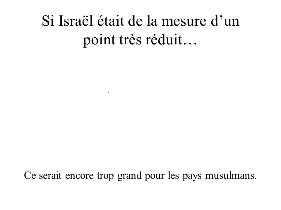 Si Israël était de la mesure dun point très réduit… Ce serait encore trop grand pour les pays musulmans.
